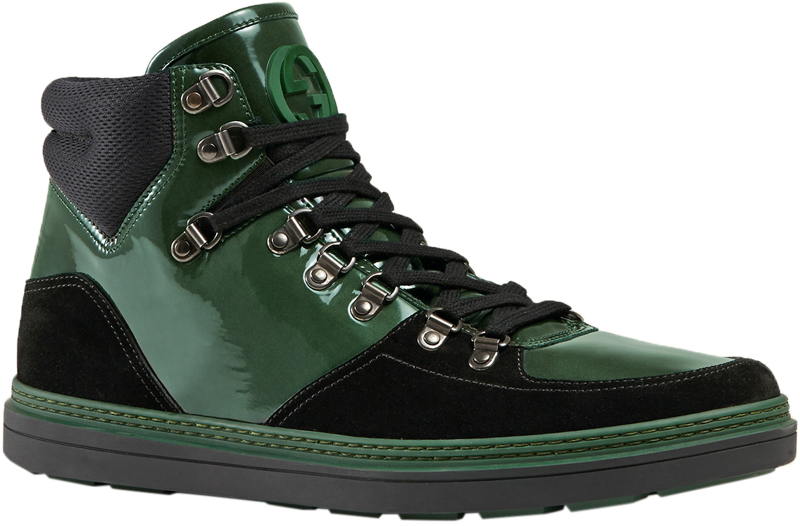 86ecb2596 Gucci Men's Green Leather Suede GG High Top Trekking Sneaker Shoes