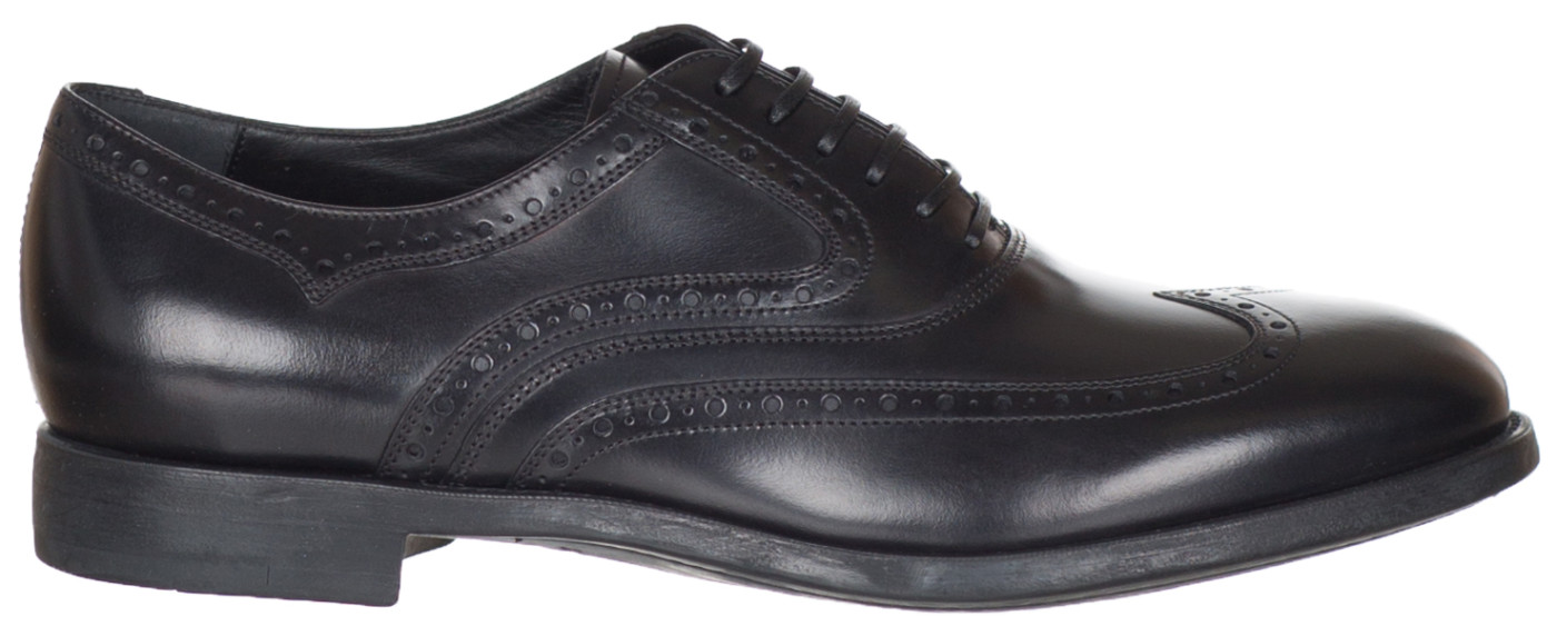 Salvatore Ferragamo Men S Black Leather Sinesio Wingtip Lace Up Oxford Shoes