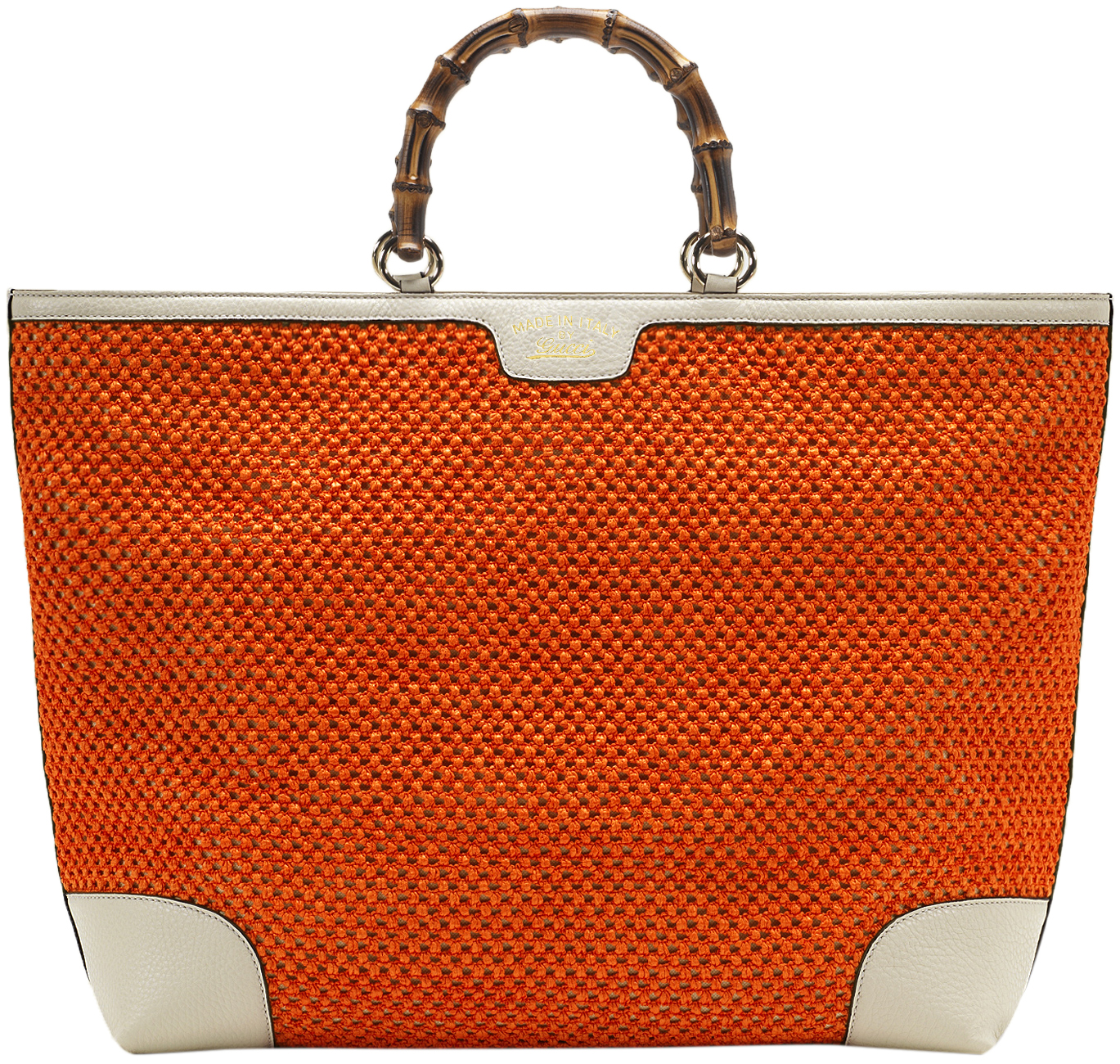 feaf15f51 Gucci Orange Bamboo Shopper Hand Woven Straw Tote Large ...