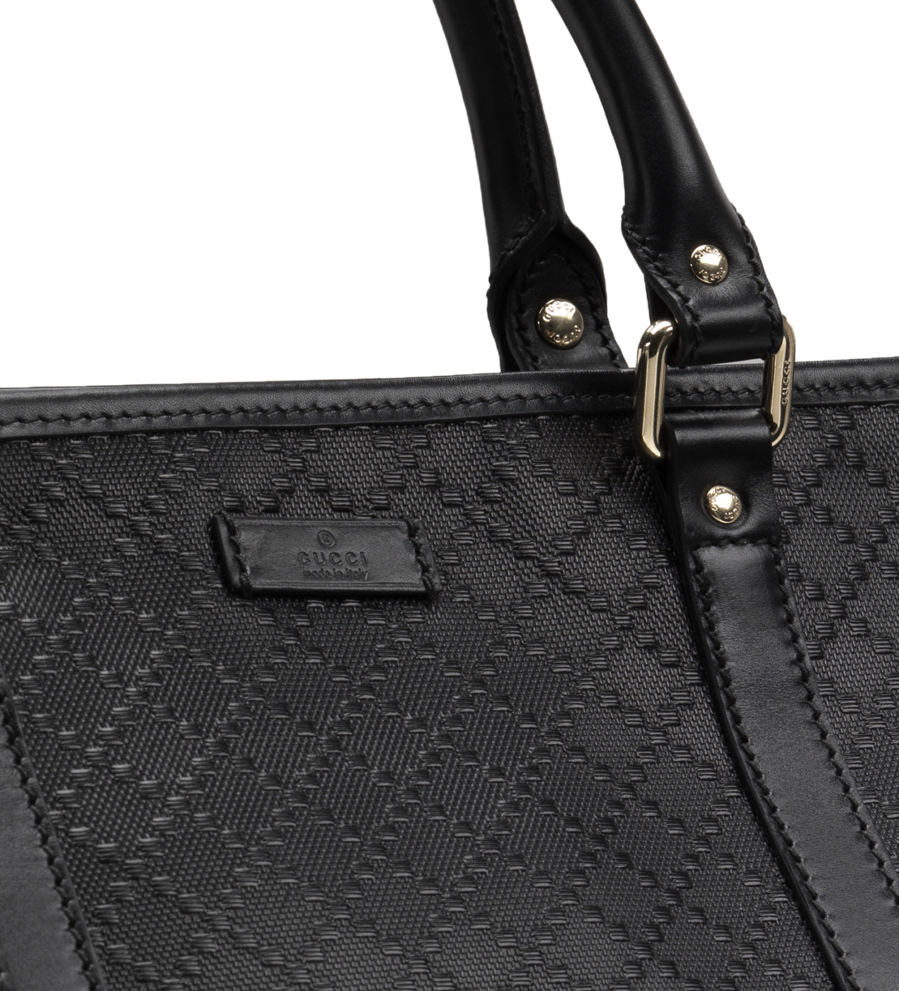 227f7257b66 Gucci Black GG Diamante Leather Top Handle Large Tote Bag