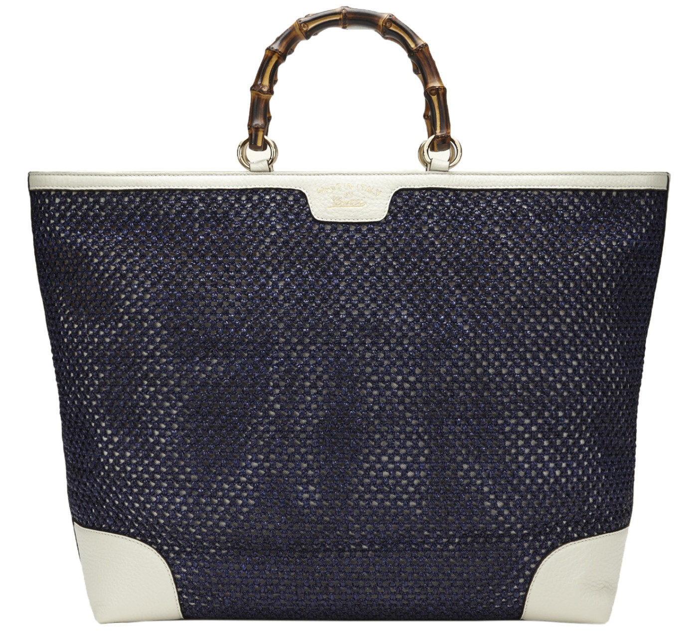 29d6b5c50cd Gucci Blue Bamboo Shopper Hand Woven Straw Tote Large Shoulder ...