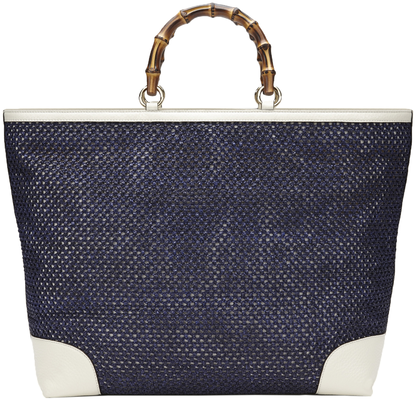 e9947328a6c3 Gucci Blue Bamboo Shopper Hand Woven Straw Tote Large Shoulder Bag