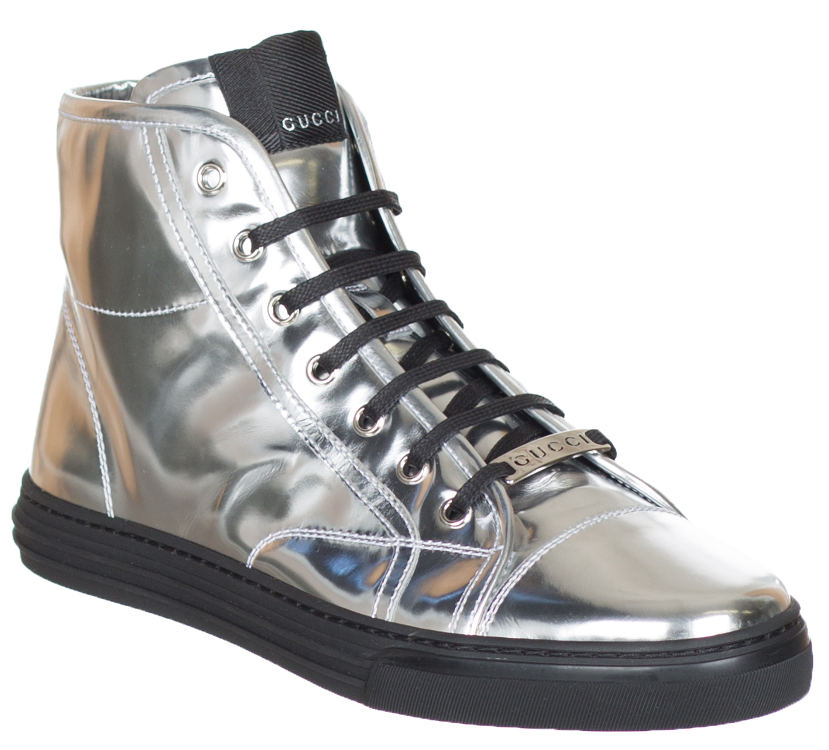 c15c00d0d Gucci Women's GG Silver Glow Light Leather High Top Sneakers Shoes