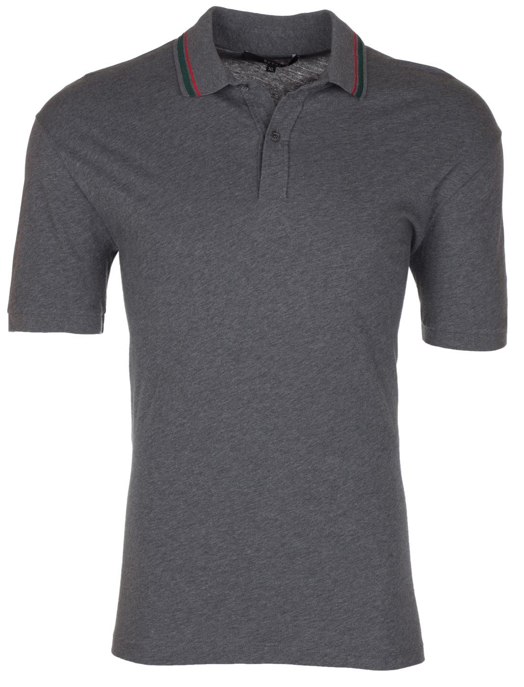 d845ec324 Gucci Men's Grey Cotton Classic Web Stripe Button Down Polo Shirt