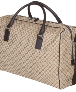 049a6afa5be7 Gucci Beige GG Diamante Canvas Leather Duffle Carry On Large Travel  Shoulder Bag