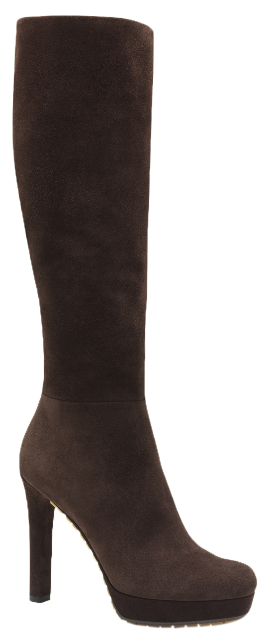 b8989b1ef0 Gucci Women's Brown Suede Anouk Black Suede High Heel Boots
