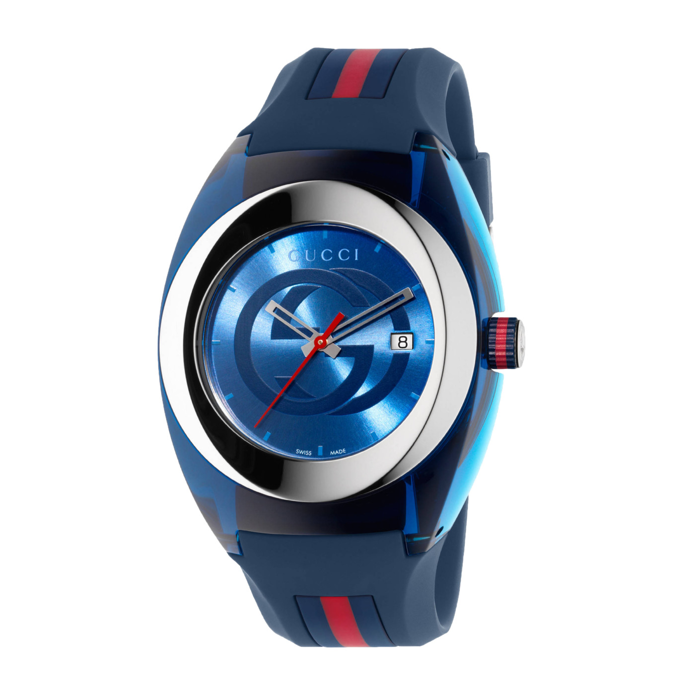 7a43421c96a Gucci SYNC XXL Stainless Steel Watch with Blue Rubber Bracelet YA137104