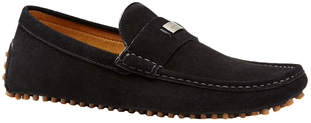 8130b78142b Gucci Men s Black Suede Pebbled Sole Driver Moccasin Loafers Shoes