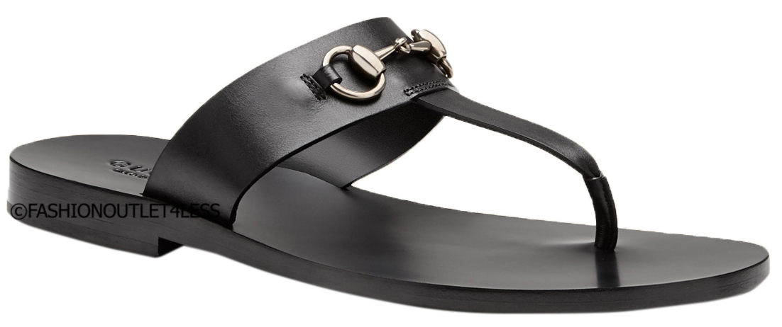 41b4d8fa698 Gucci Men s Black Leather Horsebit Flip Flop Thong Sandals Shoes