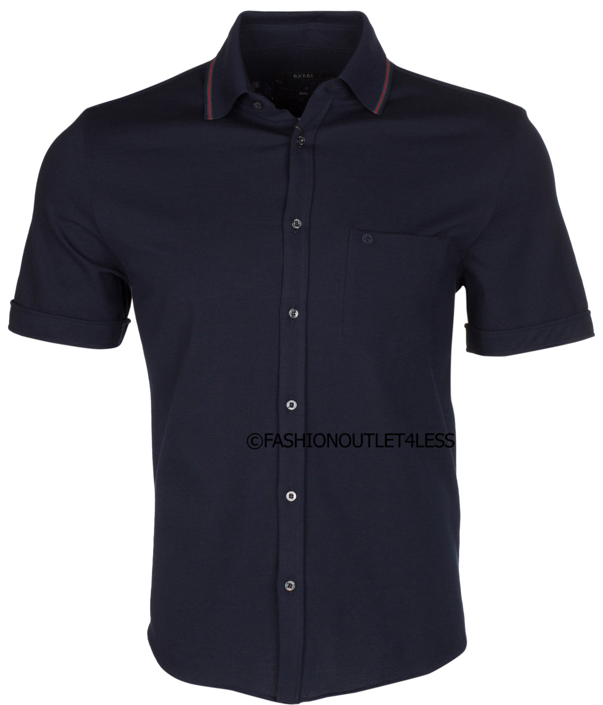 f069a855 Gucci Men's Dark Blue Cotton Web Detail Short Sleeve Jersey Duke Shirt