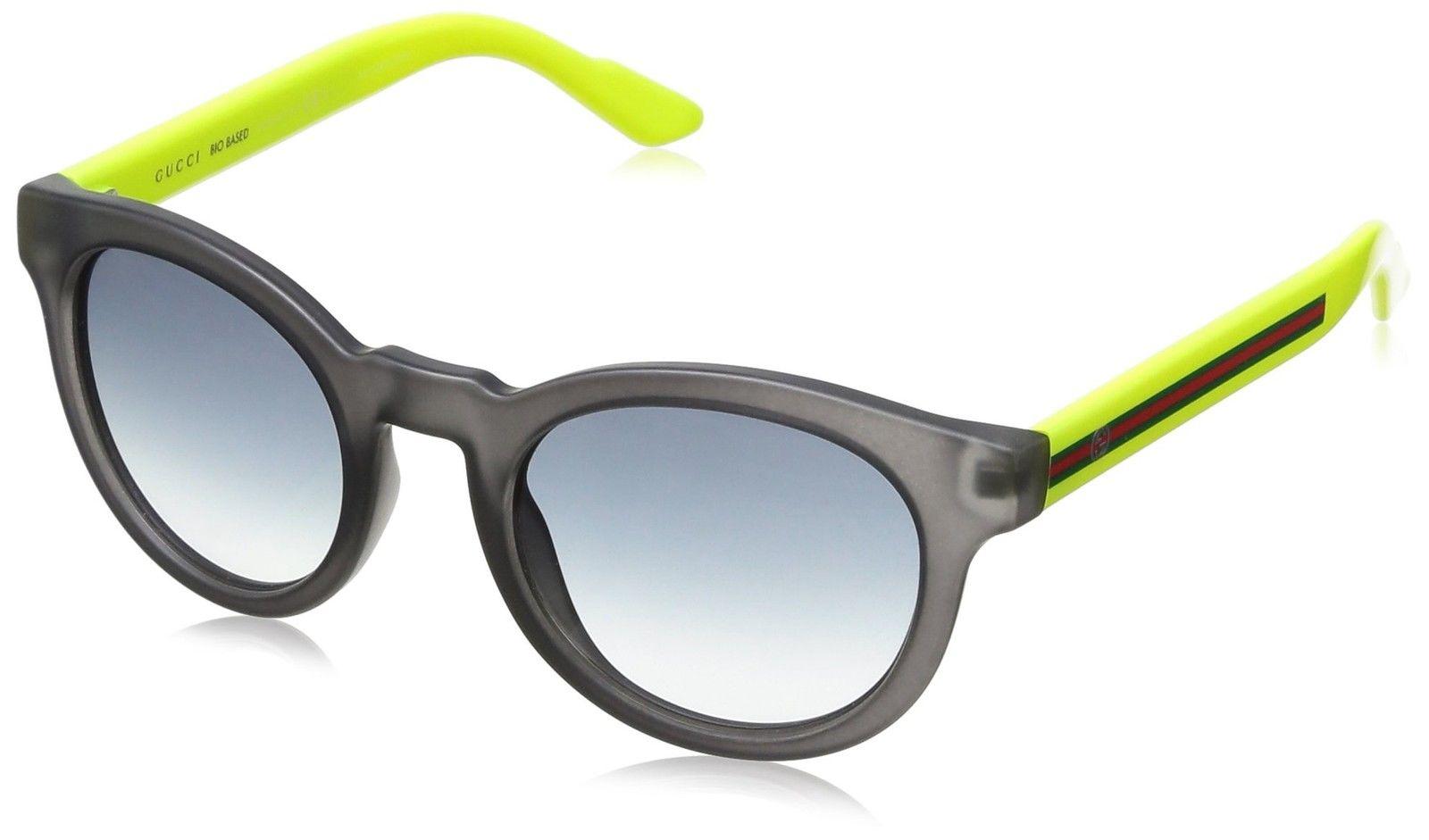 c5ce1ae63d1 Gucci Sunglasses GG Web Stripe 3653  S 190JJ Bio Acetate Matt Grey – Neon  Yellow Grey Gradient