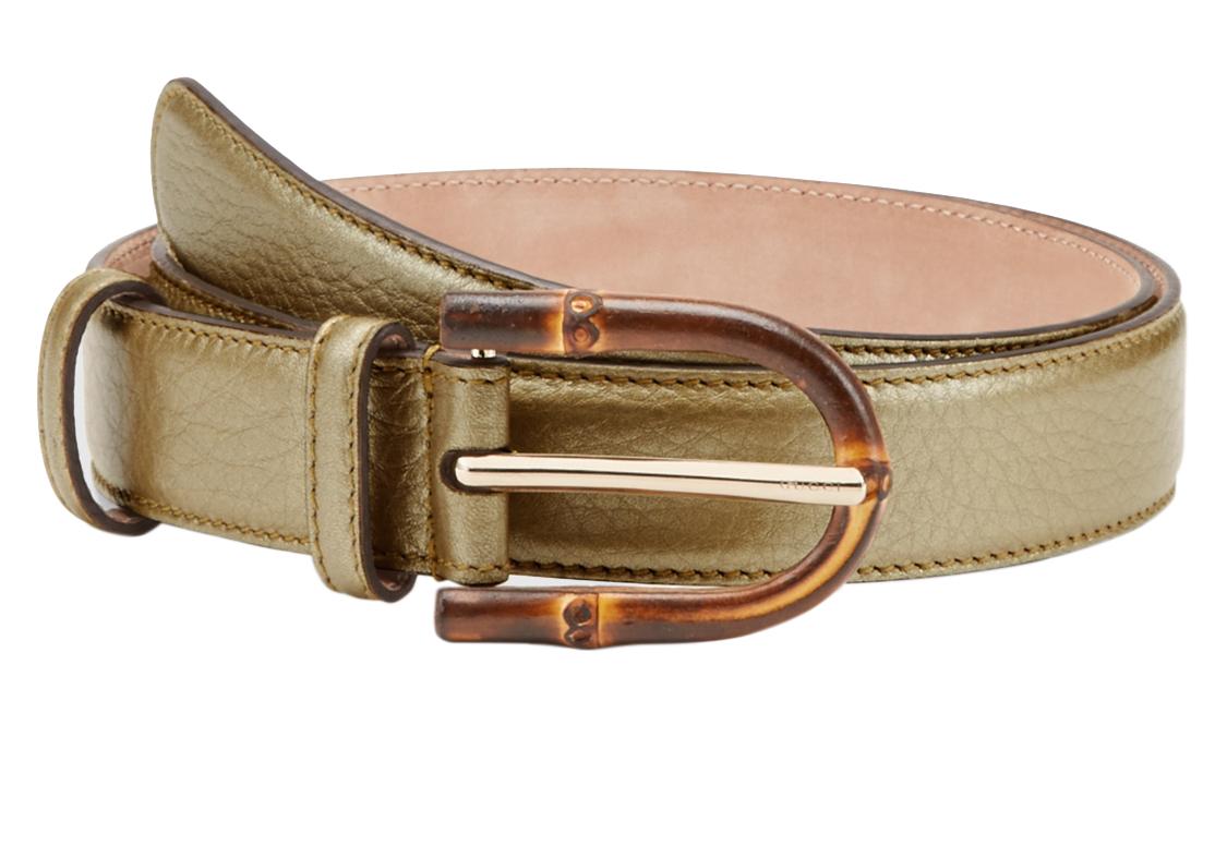 22ae606fc Gucci Women's Bamboo Buckle Metallic Leather Belt