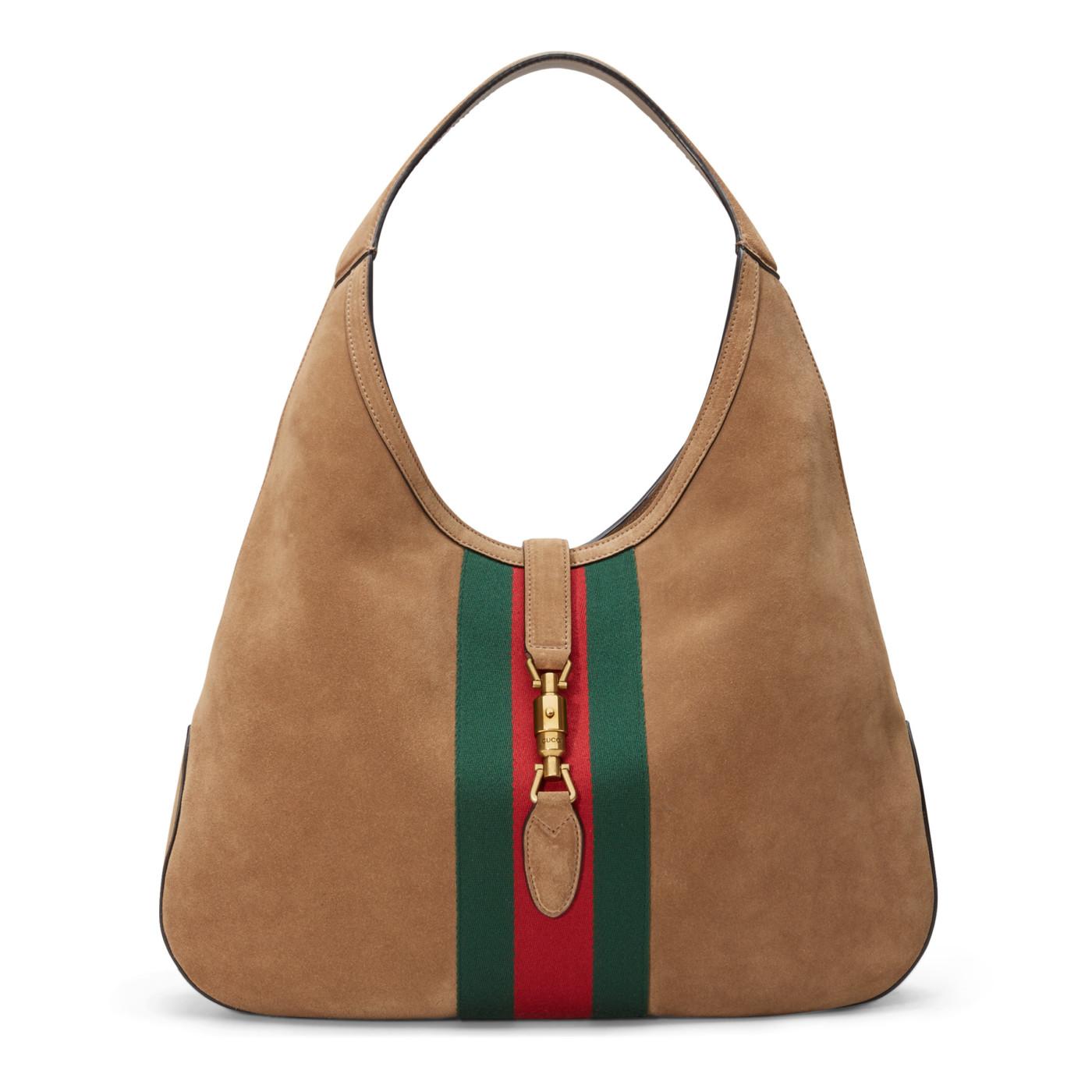2bce0b31d00 Gucci Brown Soft Suede Web Stripe Jackie Shoulder Hobo Bag