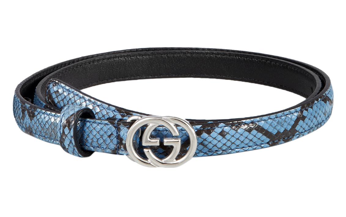 61fce5014 Gucci Women's Light Blue Python Interlocking GG Buckle Skinny Belt