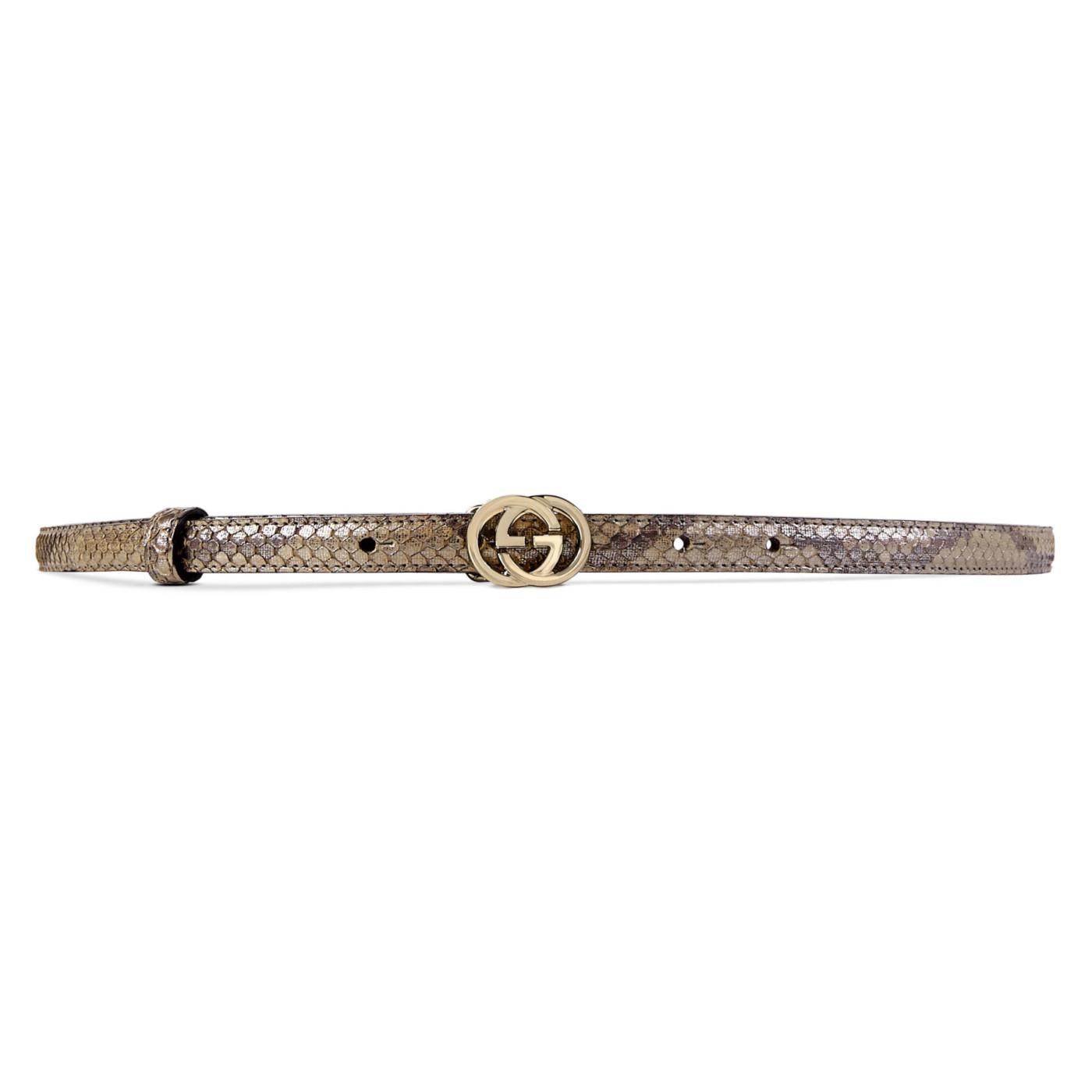 eda916f30 Gucci Women's Brown Python Interlocking GG Buckle Skinny Belt
