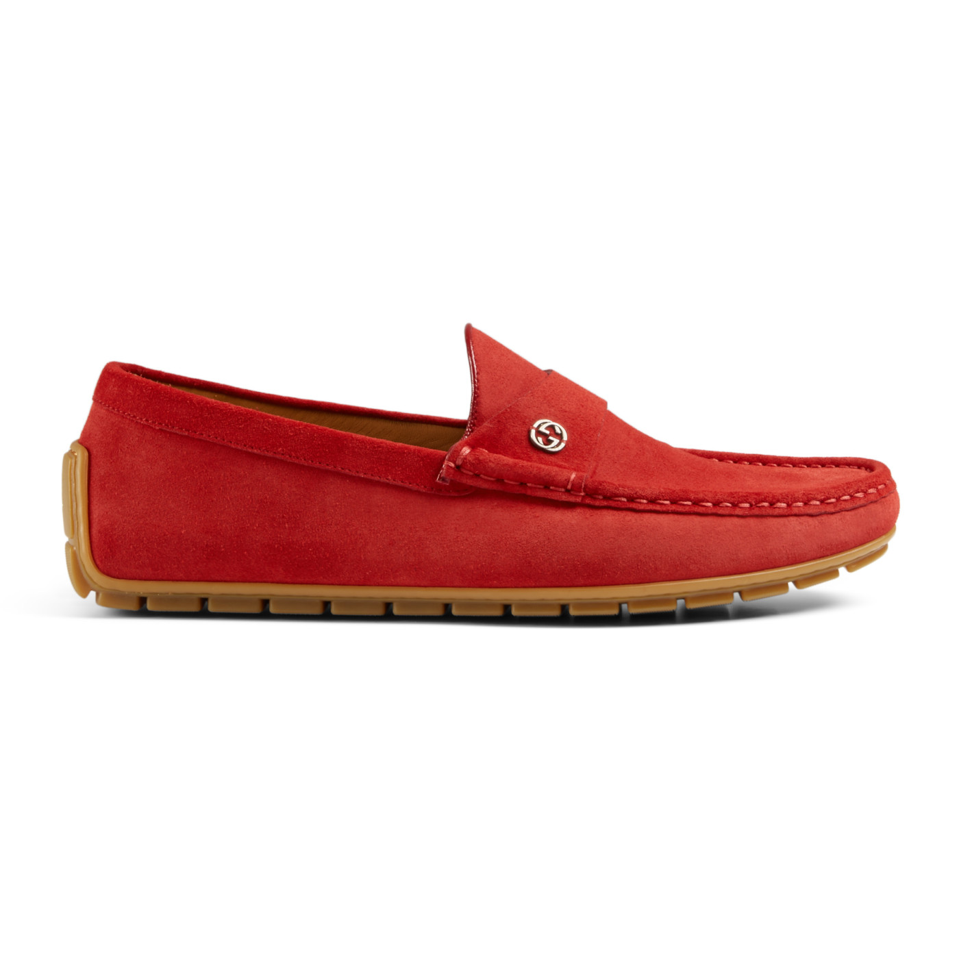70e69cf589794 Gucci Men s Full Bottom Red Suede Driver Moccasin Loafer Shoes