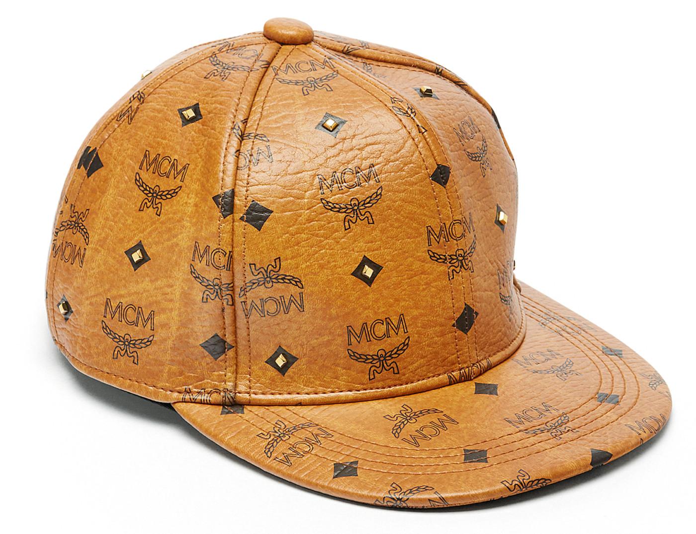 0bed568f8d1ab MCM Cognac 24K Gold Stud Visetose Baseball Cap Hat