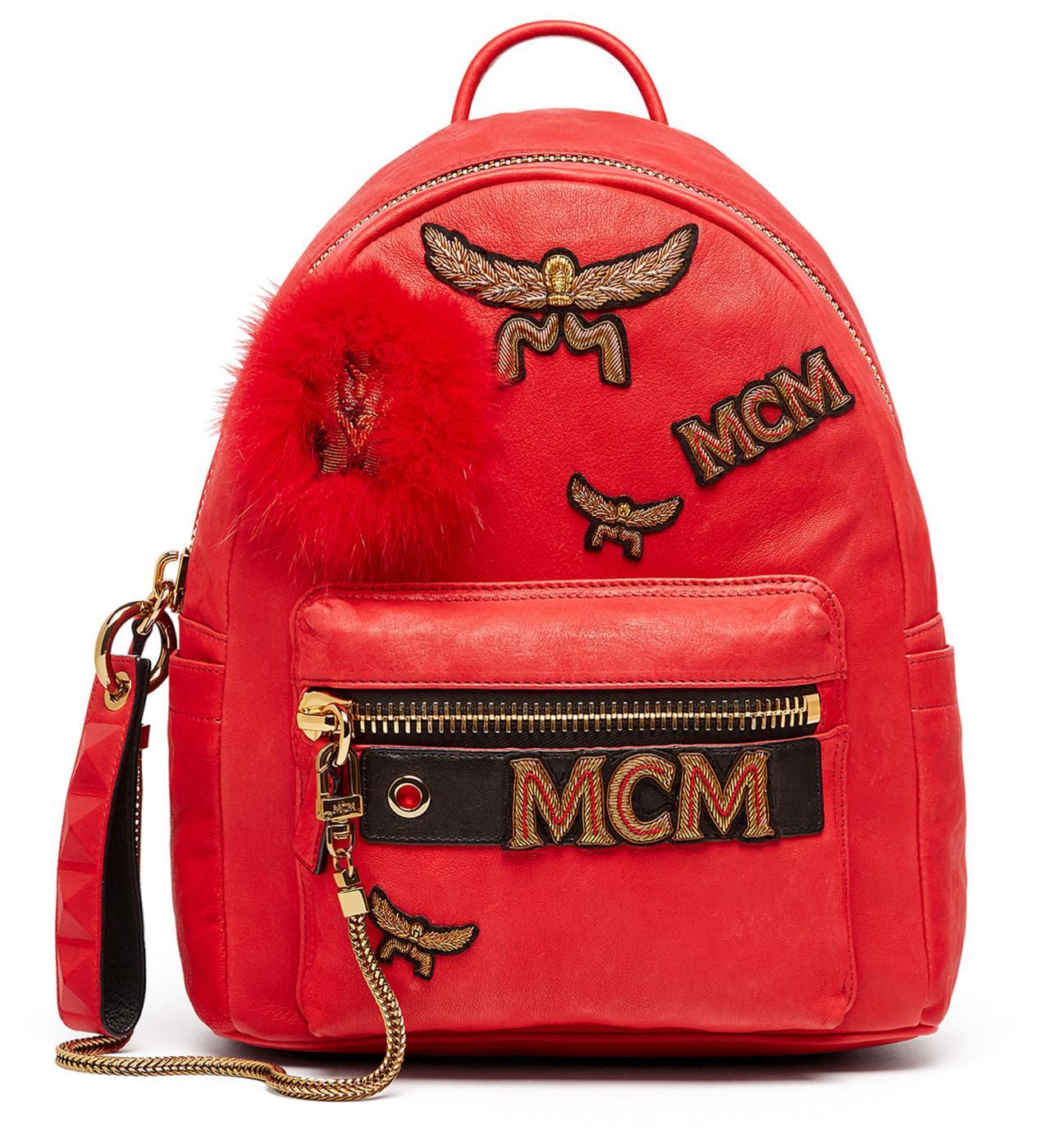 6acc3c8c0 MCM Red Stark Leather & Genuine Lamb Fur Insignia Small ...