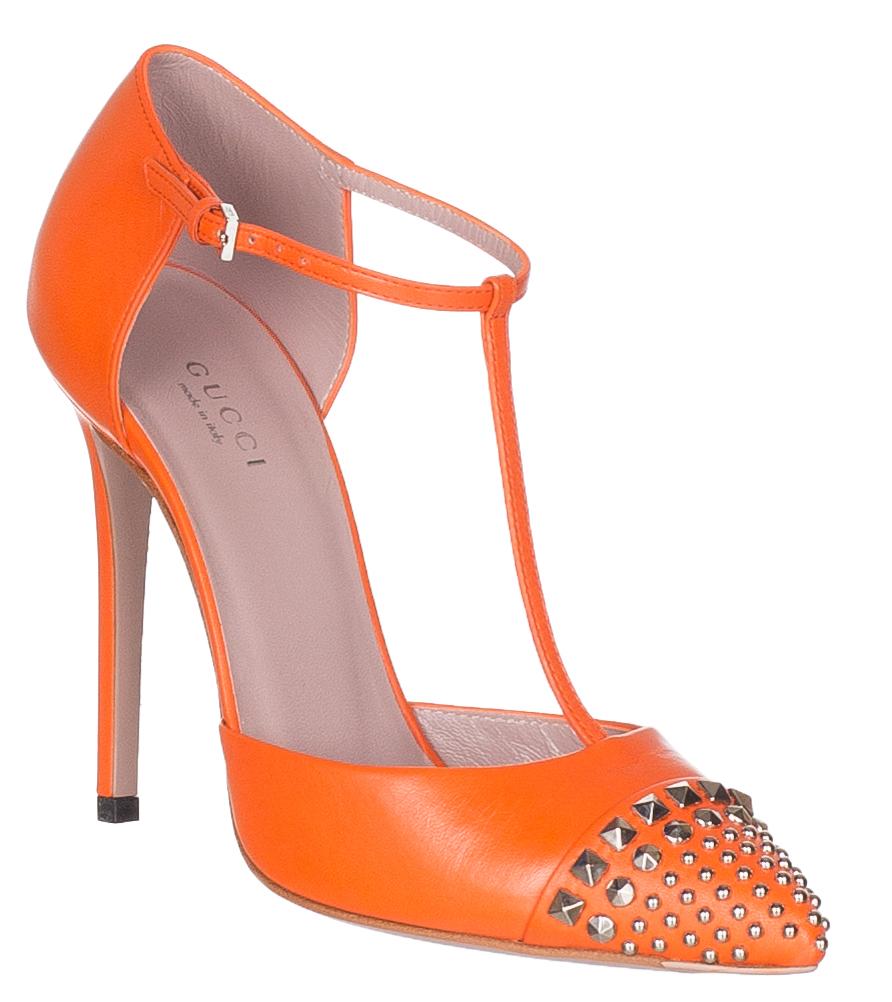 Neon Orange Studded Leather