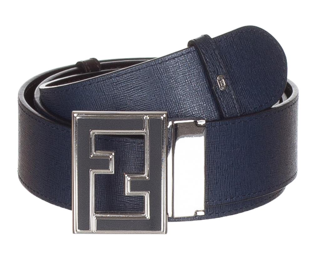 d7dc65cb53 Fendi Men's FF Logo Buckle Blue Brown Reversible Adjustable Size Belt