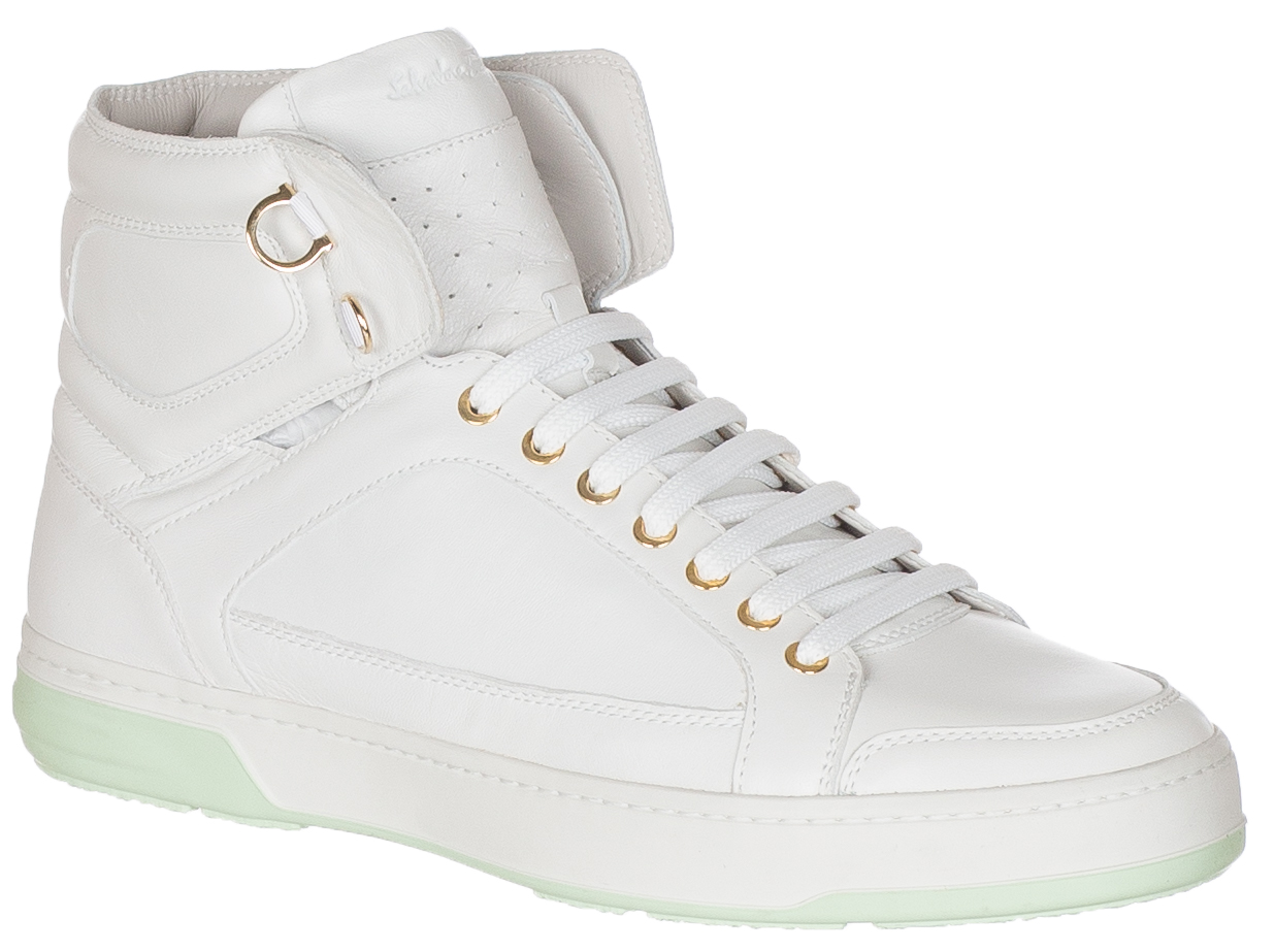 Nigel White Leather High Top Sneakers Shoes