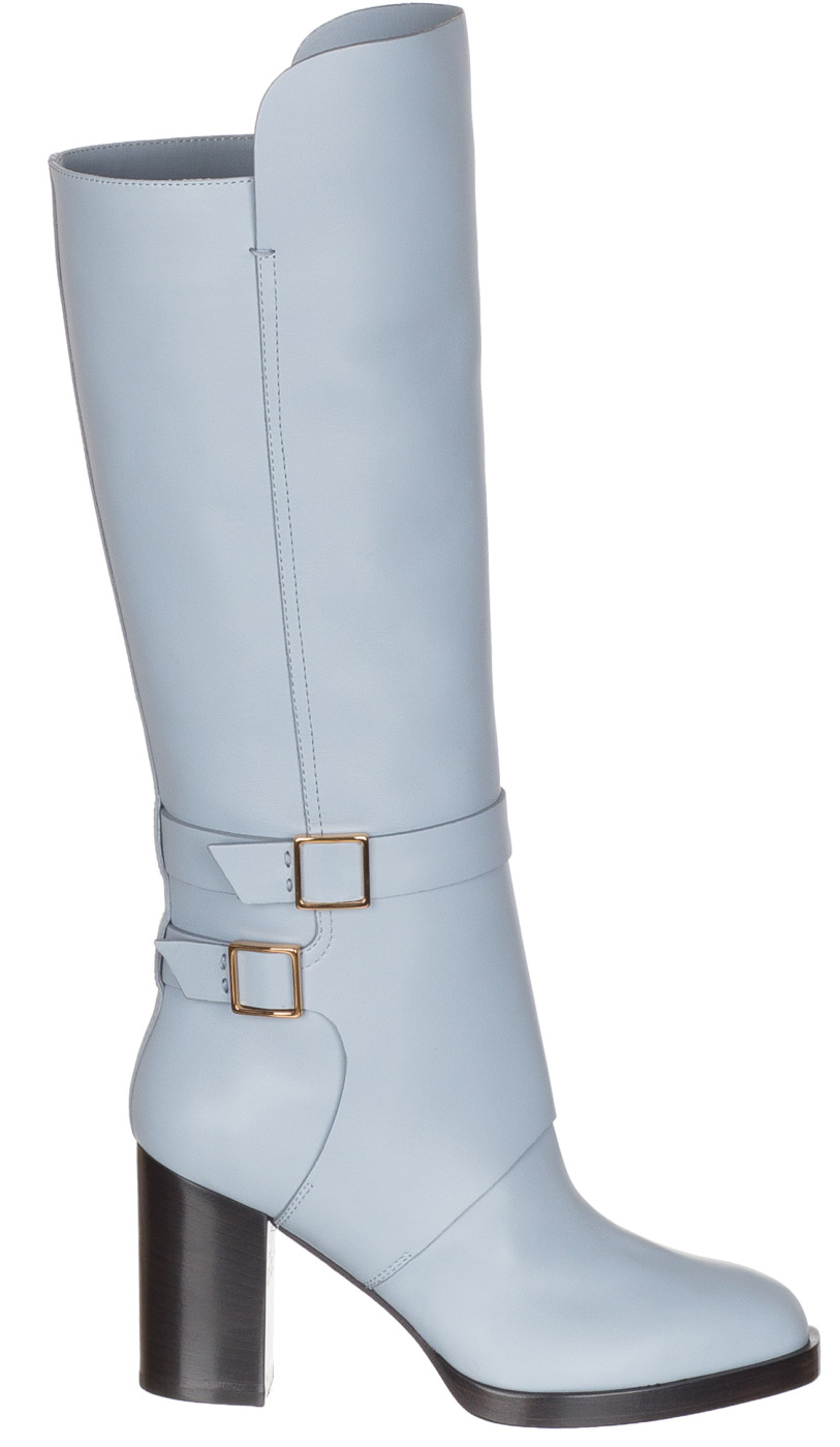 Blue Leather Buckle Knee High Boots Shoes