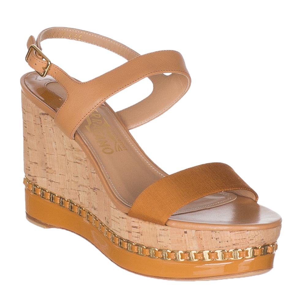 c22474999f63 Salvatore Ferragamo Women s Mollie Chain-Trim Platform Wedge Sandals Shoes