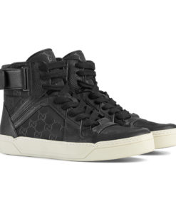 88d4fa935 Gucci Men's Black Nylon Leather GG Guccissima High Top Sneakers Shoes