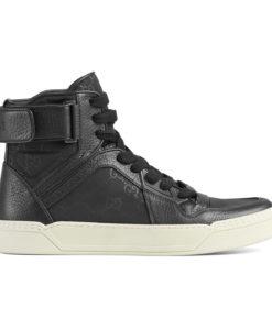 70744ac81e86 Gucci Men's Black Nylon Leather GG Guccissima High Top Sneakers Shoes