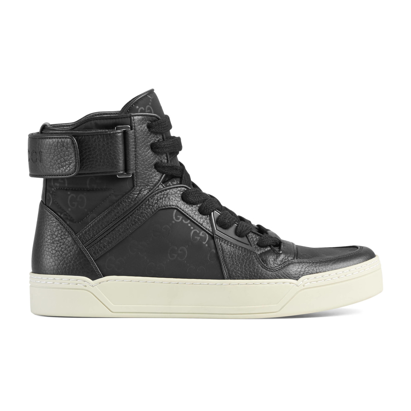 01637ee41 Gucci Men's Black Nylon Leather GG Guccissima High Top Sneakers Shoes