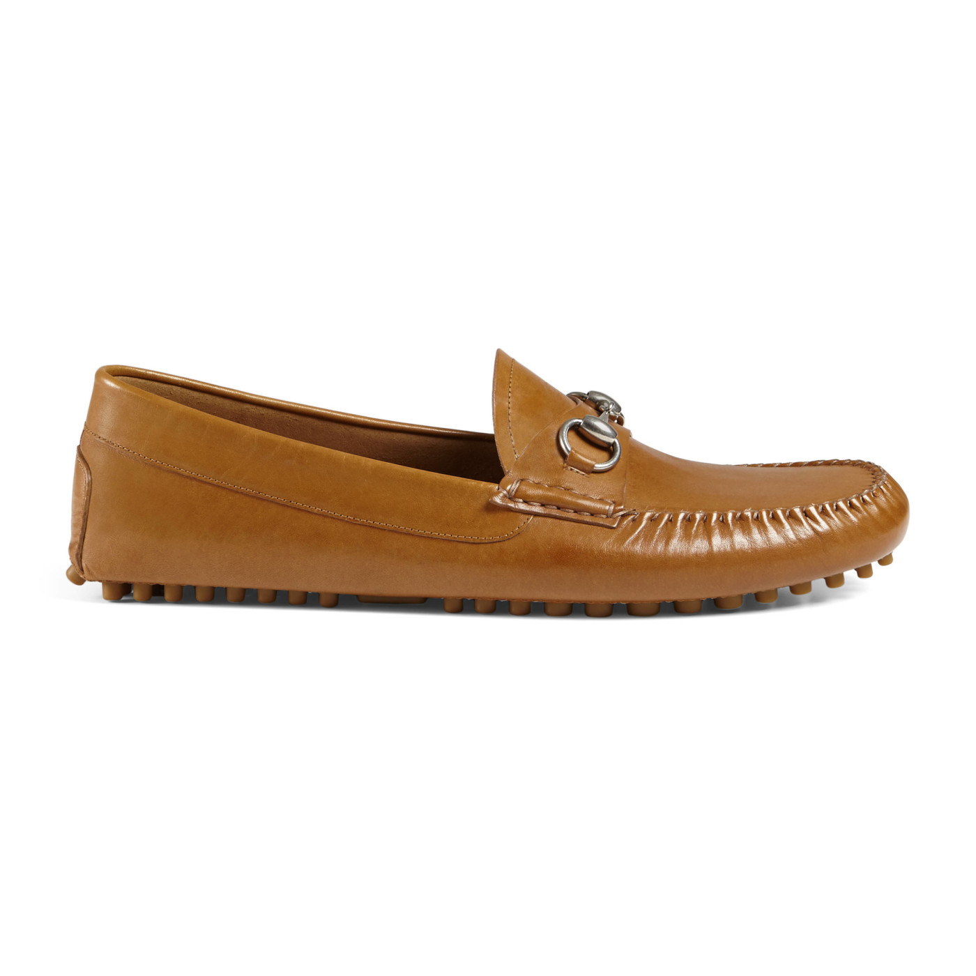 729757ec1 Gucci Men's Brown Leather Horsebit Driver Moccasin Loafers Shoes
