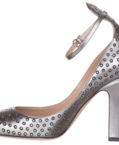 1bb0ae194dbb Valentino Garavani Women s Silver Leather Embellished Crystals Pumps Heels  Shoes