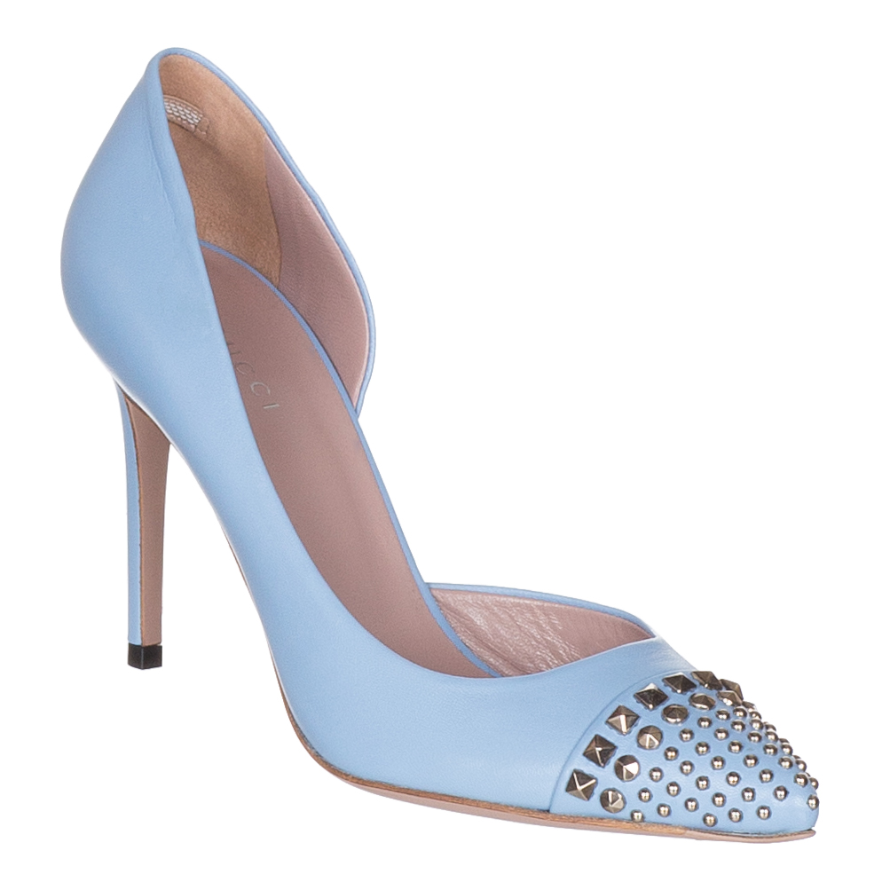 a1977ac9a Gucci Women's Mineral Blue Leather Studded Stiletto Heels Shoes