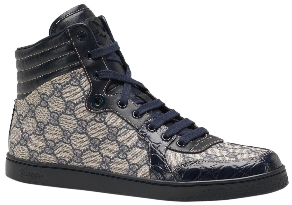 4de4610b46 Gucci Men's Blue Crocodile Leather GG Guccissima High Top Sneakers Shoes