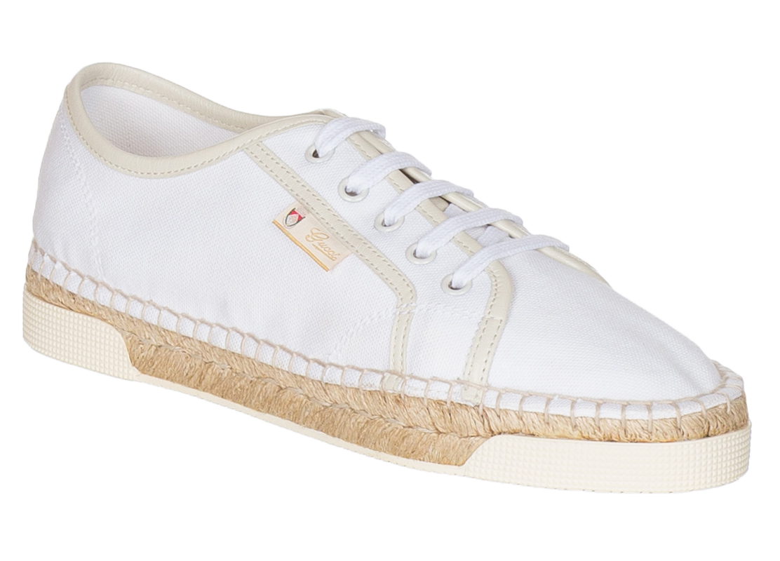 Gucci Women S White Lace Up Espadrille Flats Sneaker Shoes