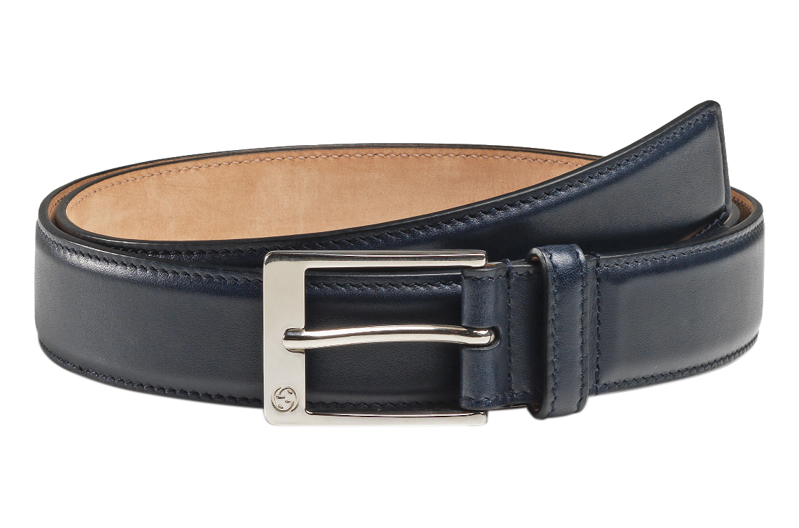 e8a0822ccb4 Gucci Men s Navy Blue Leather GG Square Buckle Belt