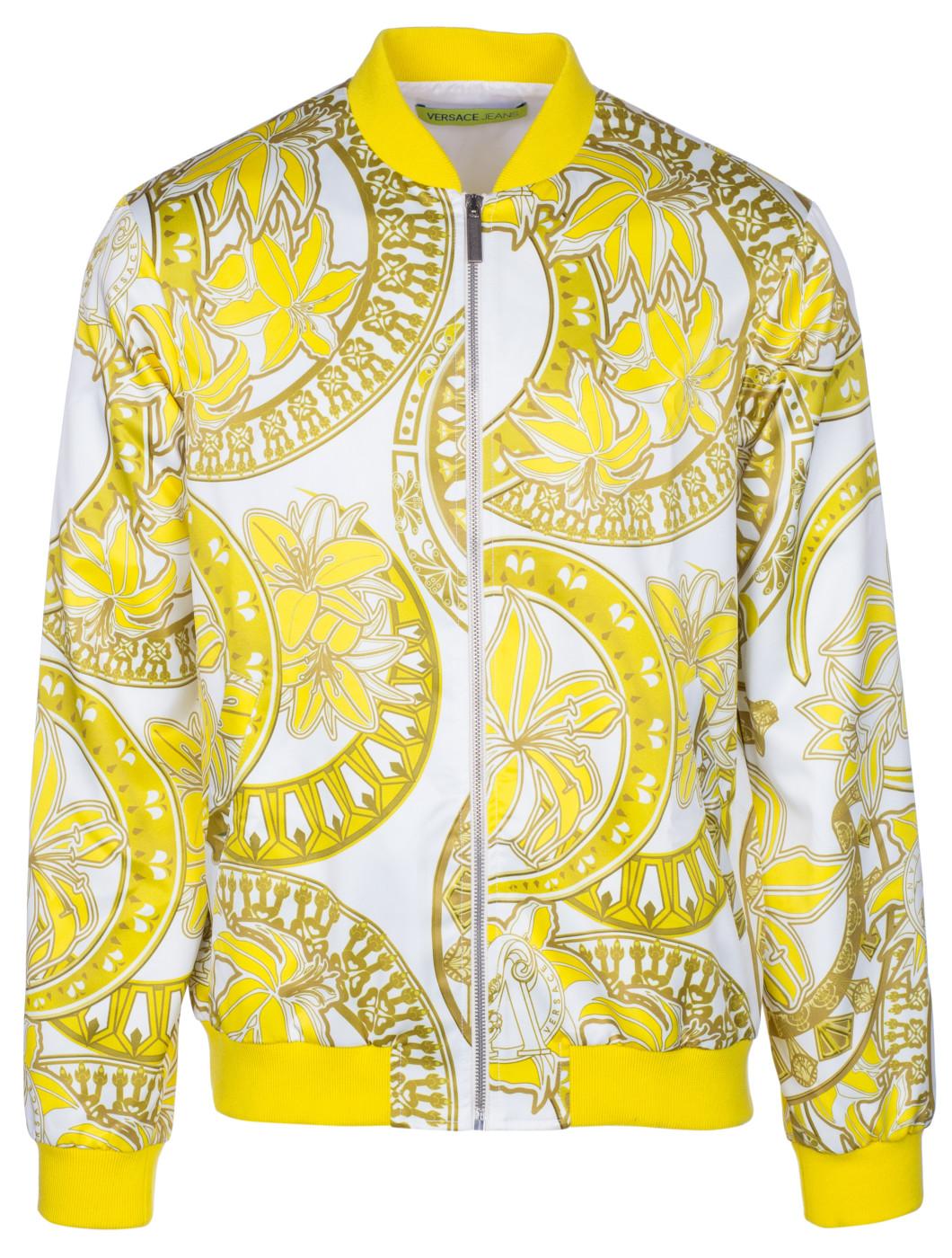 7f181ea016 Versace Jeans Men's Floral Print Zip Up Lightweight Bomber Jacket