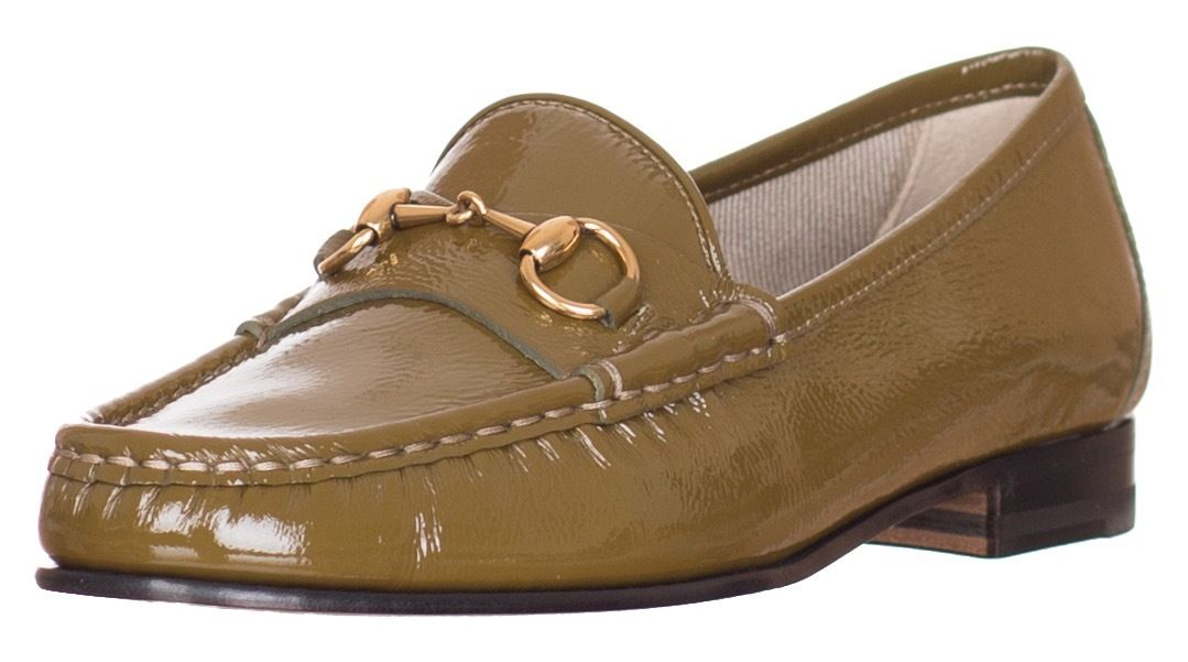 e6f4be78599 Gucci Women s 1953 Horsebit Olive Green Patent Leather Loafer Shoes sz 6.5 7