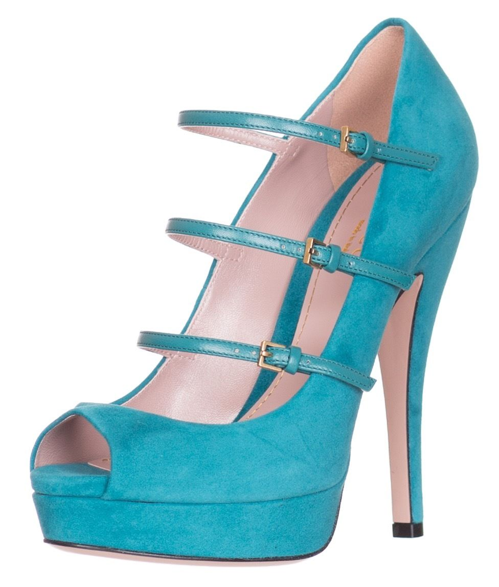 c3b9798eb67 Gucci Three Strap Teal Green Suede High Heel Open Toe Pumps Shoes ...