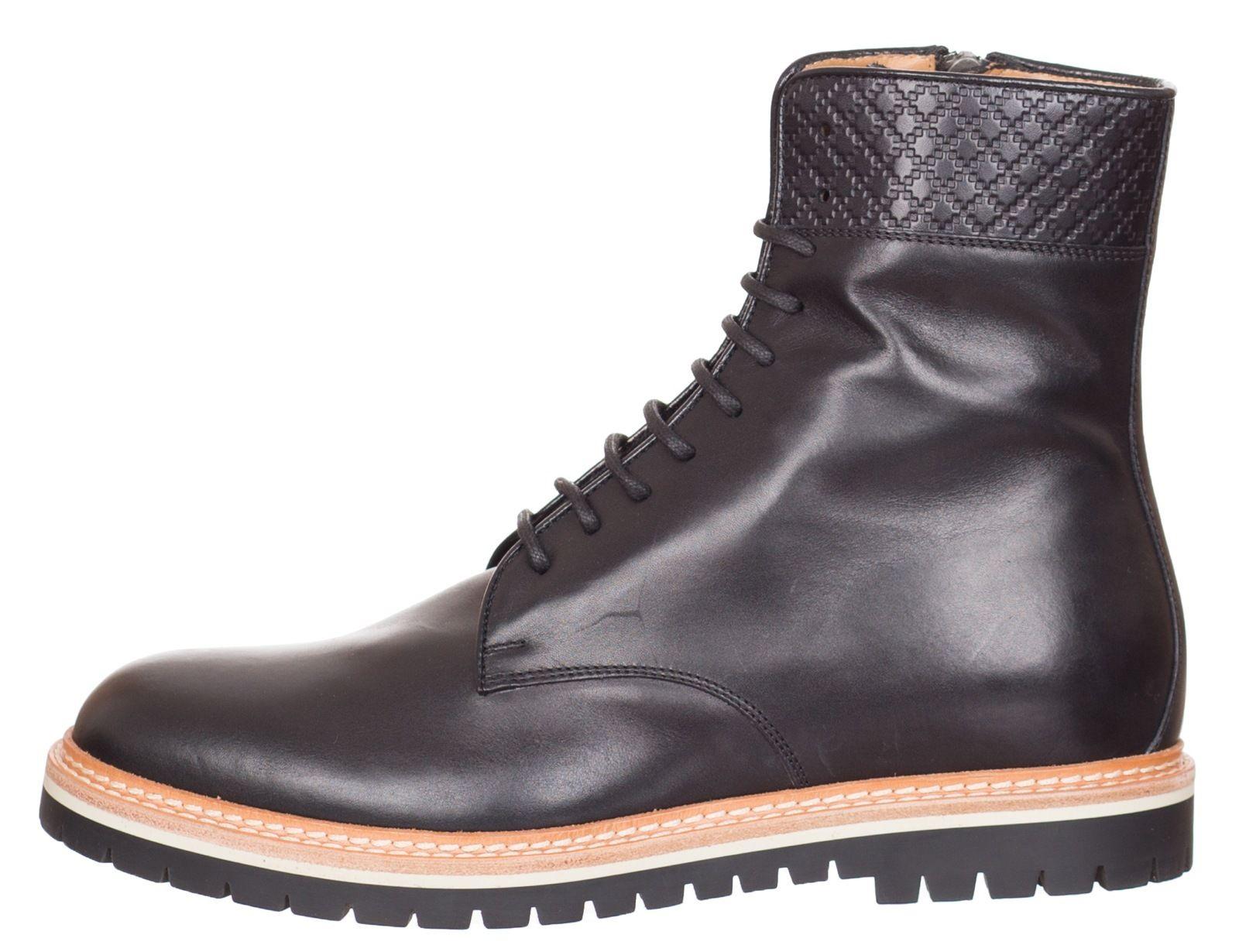 84e40c9b561  880 Gucci Black Leather Lace-up Zipper Ankle Boots Shoes US 8 EU ...