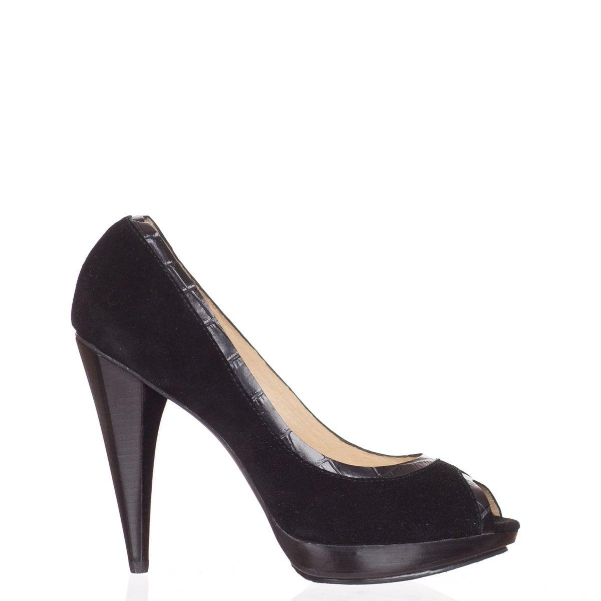 5ec9a075a12 Michael Kors Women s Black Suede Peep Toe Heels Shoes