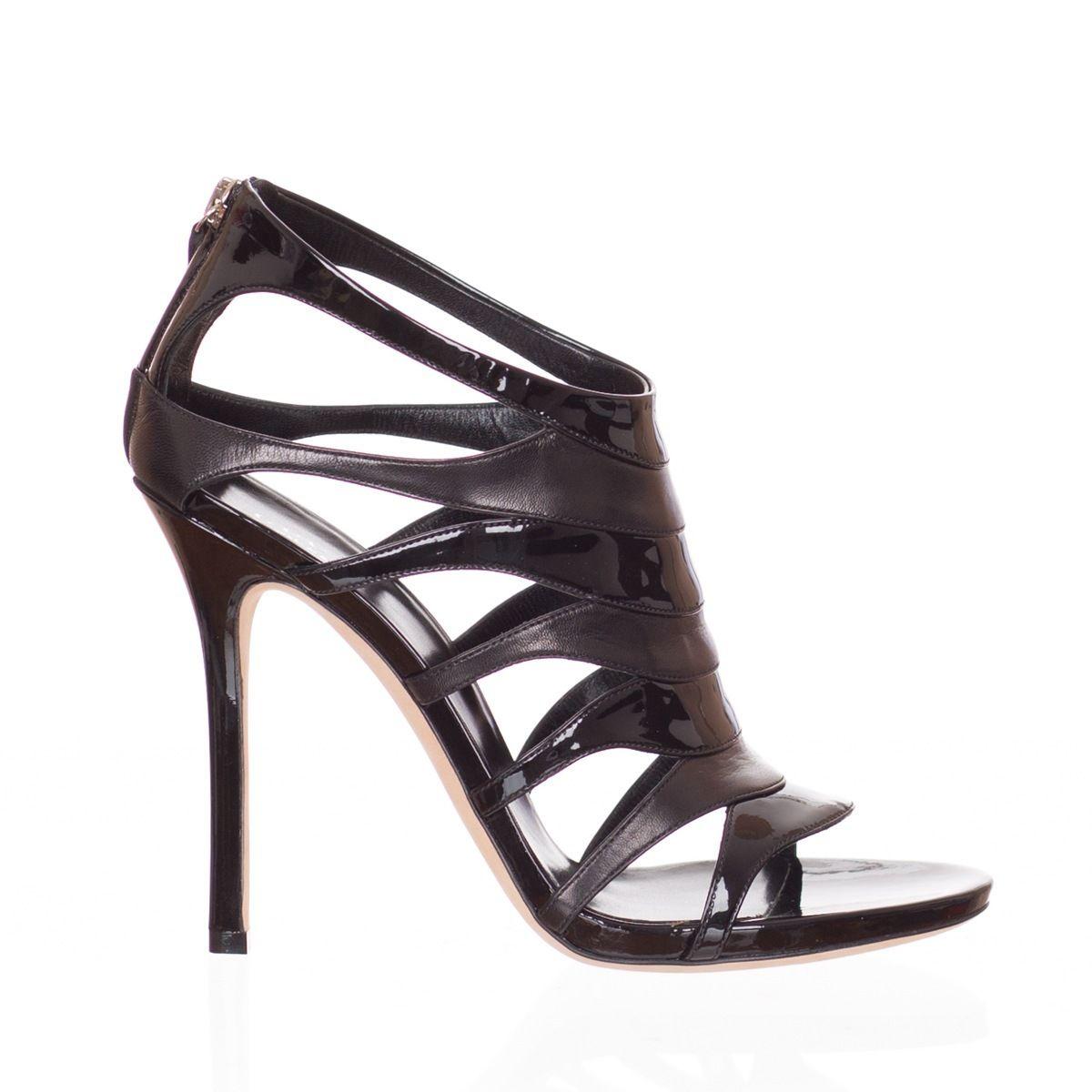 Gucci Women s Black Leather Open Toe Heels Shoes Size US 8 EU 38 ecef42cda
