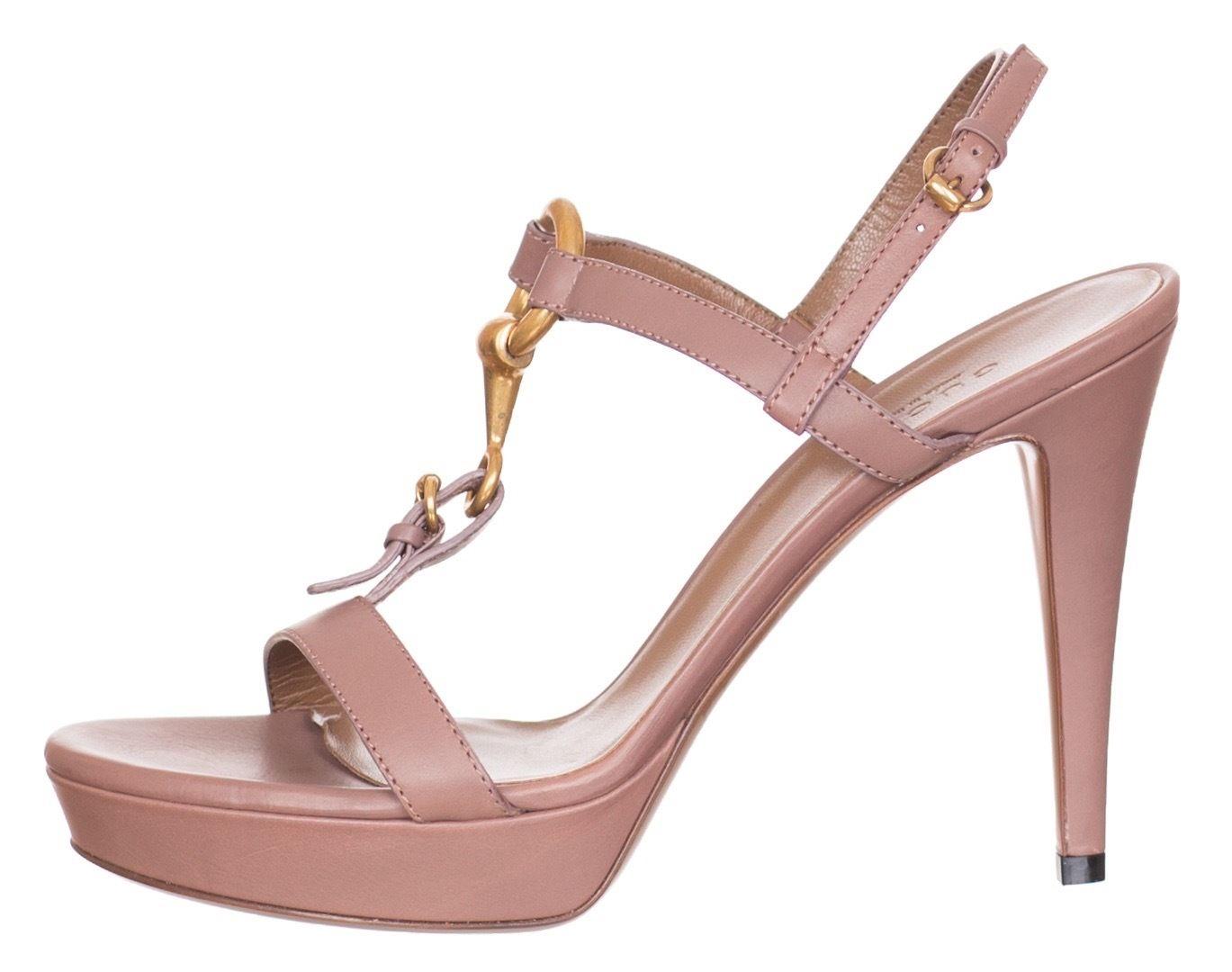 68546f7aeb76  695 Gucci Pink Horsebit Leather Platform Sandals Heels Shoes US 7.5 ...