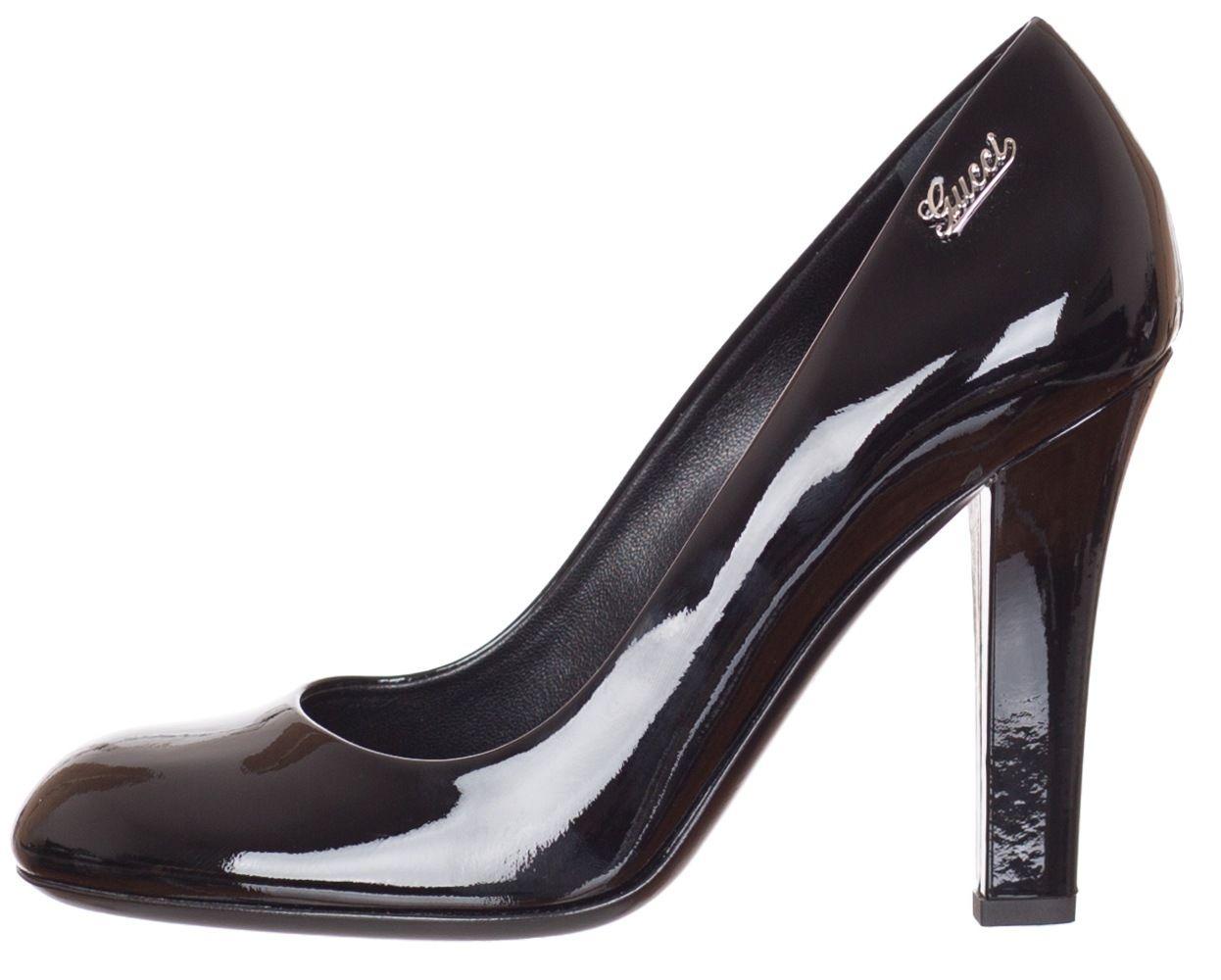 759e7e05dc Gucci Black Patent Leather Script Logo Heels Shoes US 5.5 7 7.5 8 9.5 11