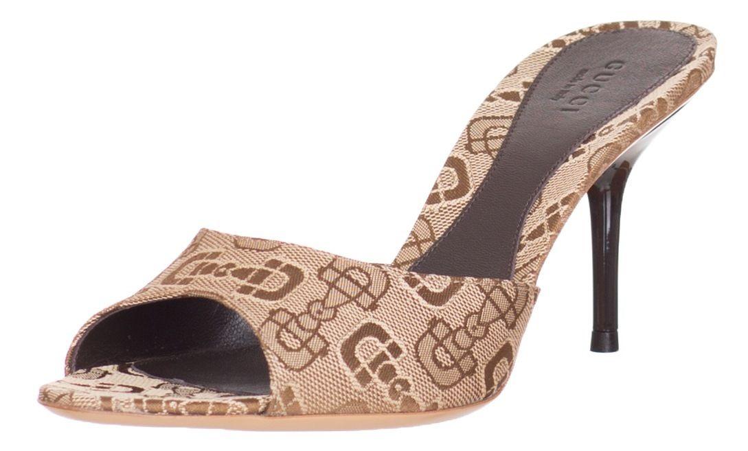 5cc70bb25a9 Gucci Beige Horsebit Mid Heel Slides Shoes US 5 6 8 8.5 11 EU 35 36 ...