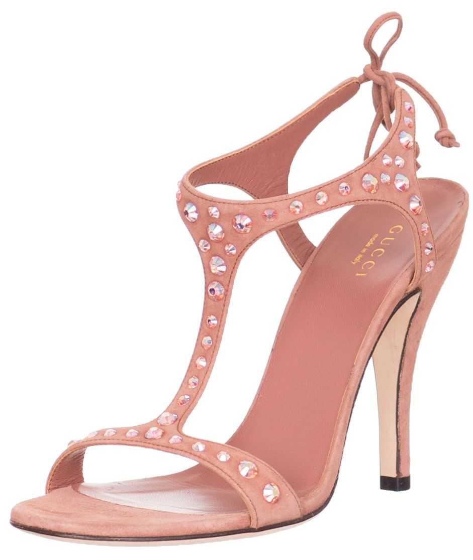 c210fa16bf6  995 Gucci Studded Crystal Suede High Heel Sandals Shoes US 7 ...