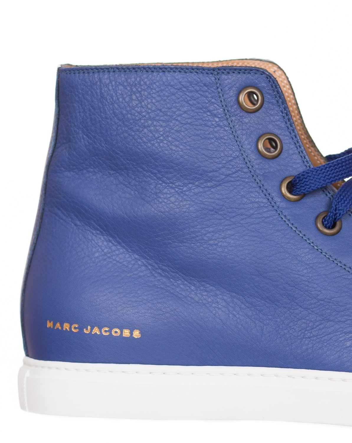 Blue High Top Leather Sneakers Shoes