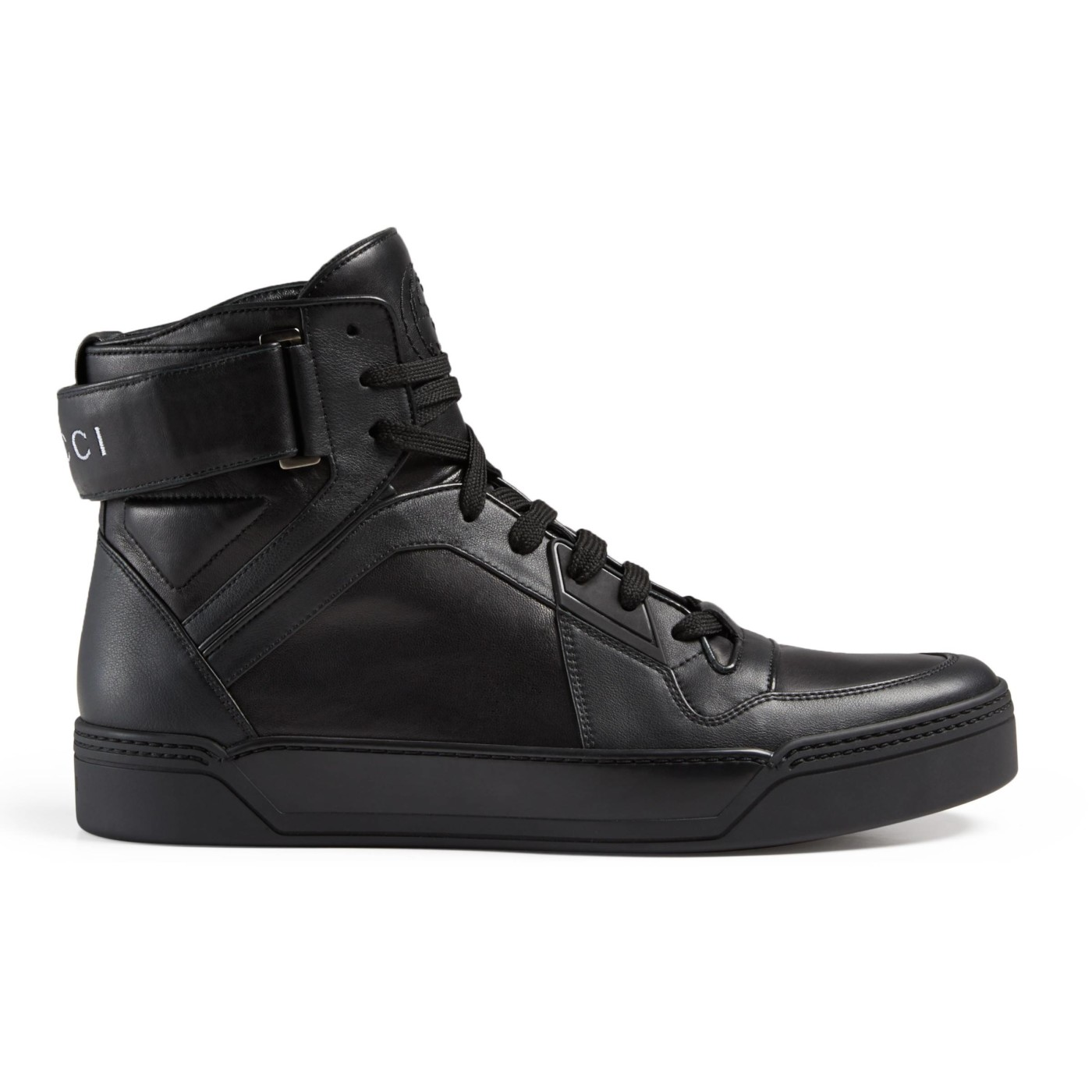 Gucci Men\u0027s Black GG Soft Leather High Top Sneakers Shoes