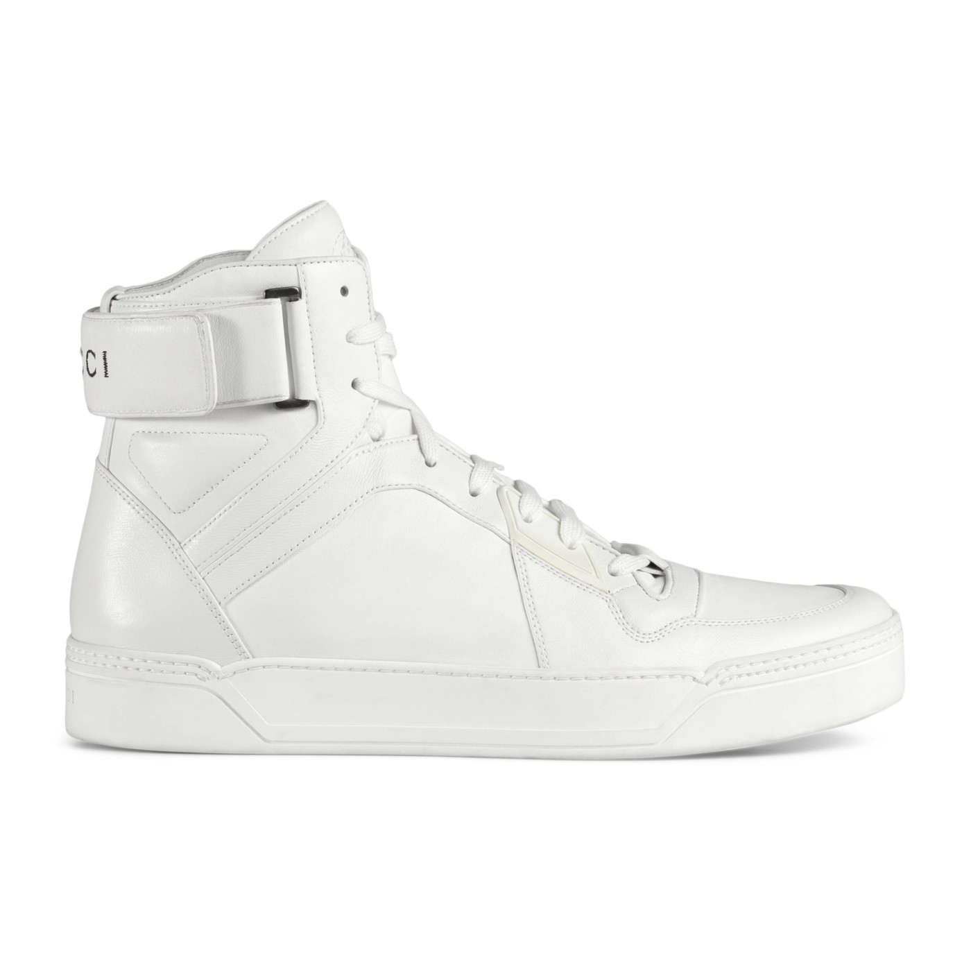 Gucci Men\u0027s White GG Soft Leather High Top Sneakers Shoes