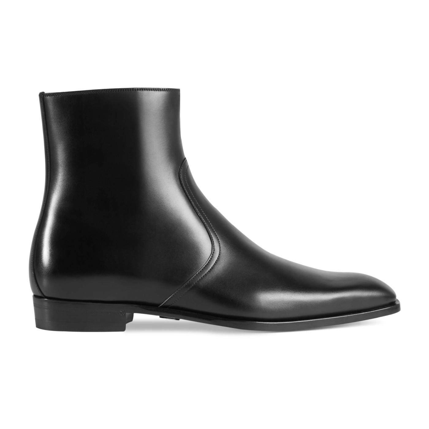 e04e04c69bd Gucci Men's Black Leather Zip Up GG Chelsea Ankle Boots Shoes